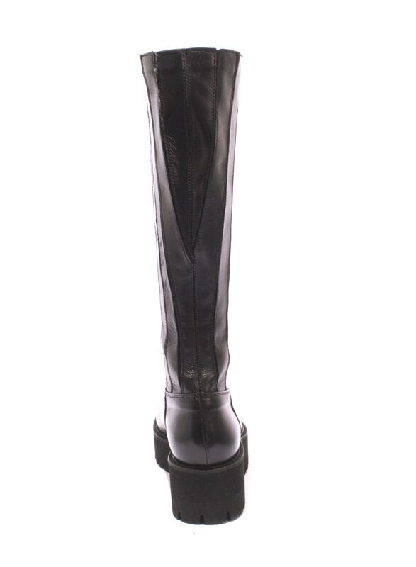 Luca Luca Luca Grossi 286 Black Leather Stretch Over Mid-Calf Boots 37.5   US 7.5 3abcda