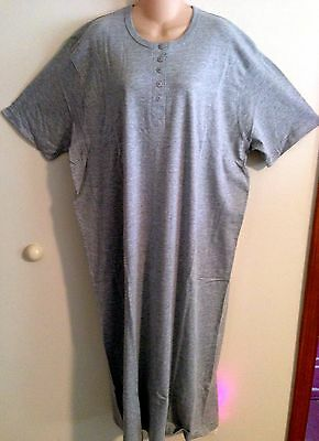 ~NEW~ HEATHER GRAY HENLEY LONG COTTON NIGHTSHIRT O/S FITS 1X-3X
