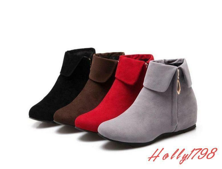 Womens Faux Suede Round Toe Hidden Wedge Heel Zip Ankle Boots shoes Plus Size