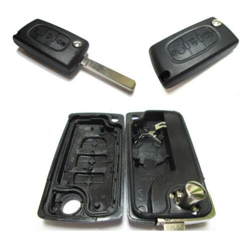 PG06 Autoschlüssel-Gehäuse mit Rohling 3 Tasten Peugeot 107 207 207CC 306 308