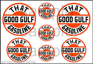 VINTAGE STYLE 1 3/4 AND 1/2 INCH GOOD GULF GASOLINE GAS OIL DECAL STICKER
