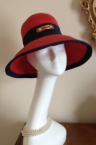 2646be2cacd Image is loading Authentic-Christian-Dior-Licence-Chapeaux-Red-Navy-Blue-