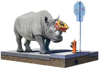 JOSH KEYES The Collector 2011 print poster rhino fire hydrant urban animals