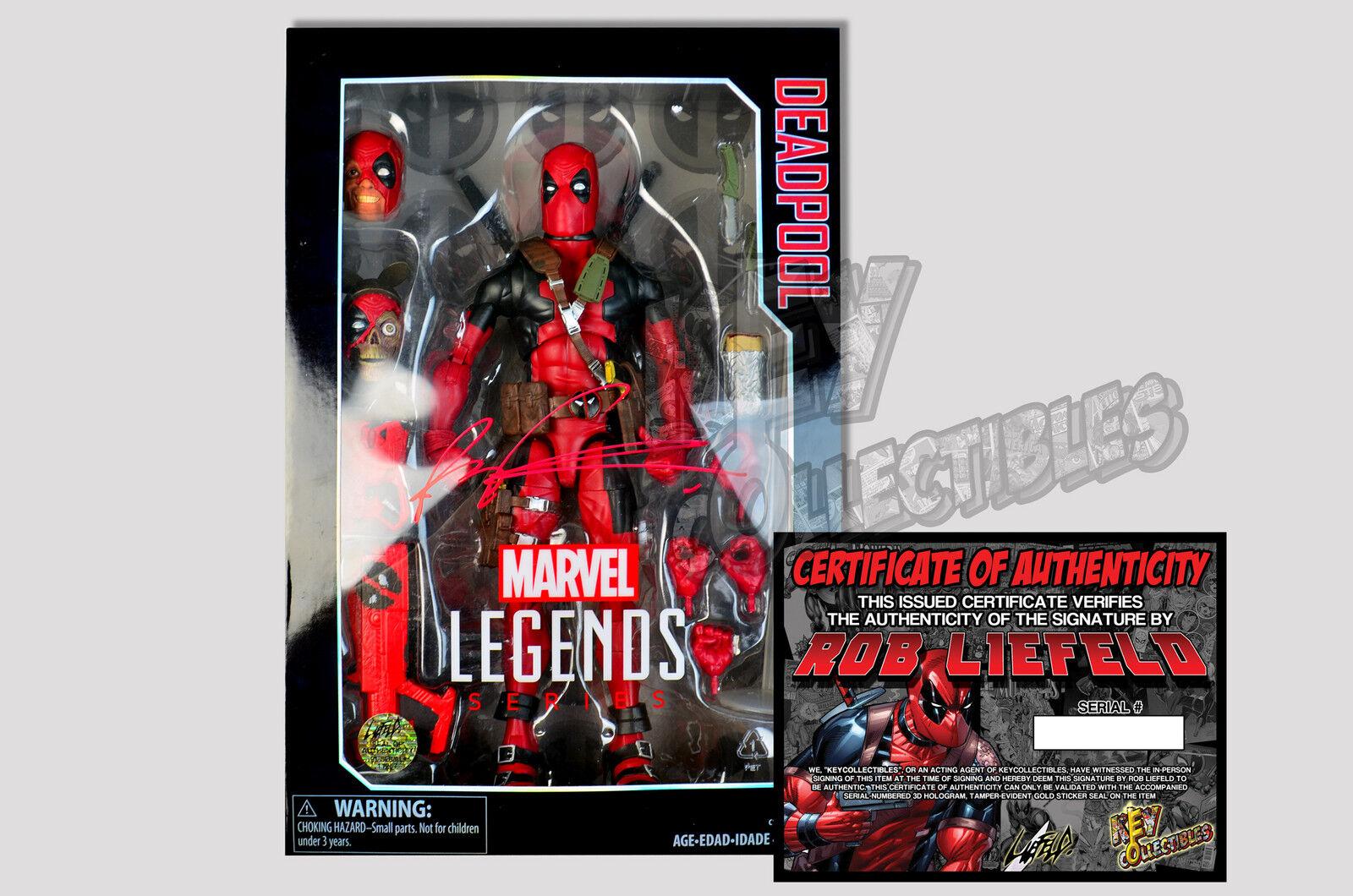 Marvel - legenden für deadpool 12  action - figur - unterschrieben von rob liefeld