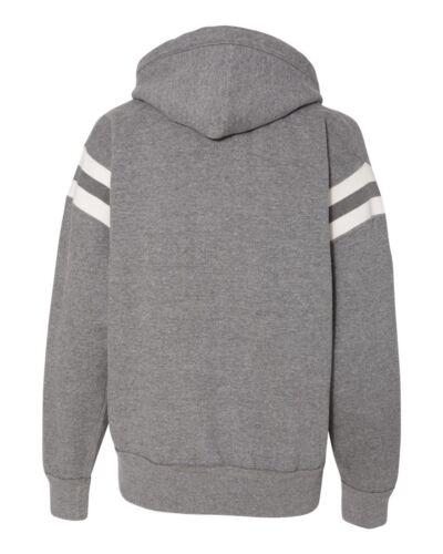 NEW 2018!J America Vintage Athletic Fleece Sweatshirt Striped Sleeve Hoodie 8847