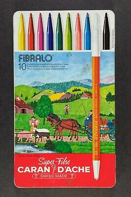 Caran D/'Ache Fibralo Fibre Felt Tipped Pens Artist Quality Markers In Metal Tin