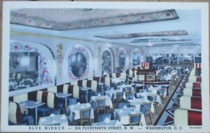 Washington-DC-1940s-Linen-Postcard-Blue-Mirror-Restaurant-Interior-DOC