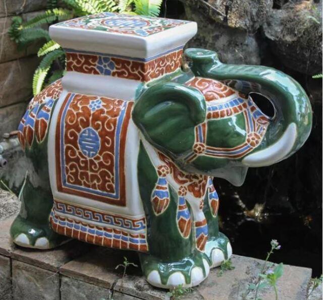 Swell Porcelain Garden Stool Glazed Ceramic Elephant Plant Stand Patio Accent Table Spiritservingveterans Wood Chair Design Ideas Spiritservingveteransorg