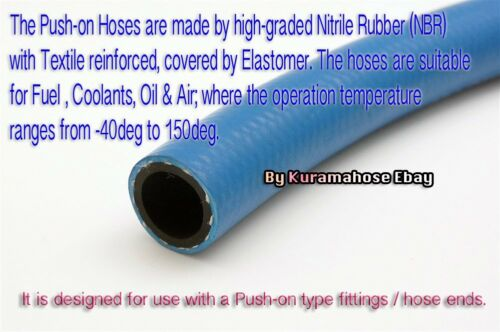 12 AN12 NBR Fuel Line Oil Gas Hose 1M 3.3FT 19mm ID 400 Series Push On Hose AN