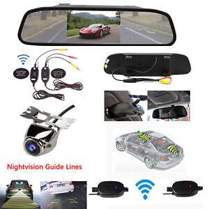 Wireless-Car-5-039-039-Mirror-Monitor-Waterproof-Rear-View-Backup-Reverse-Camera-Kit