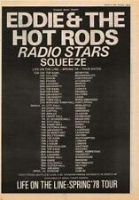 Eddie Hot Rods Squeeze Radio Stars UK Tour advert 1978