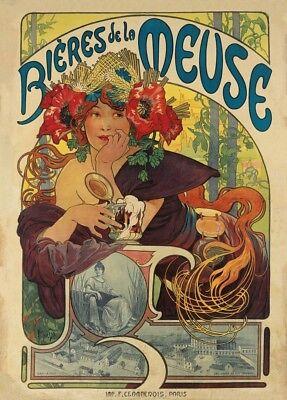 250gsm Art Nouveau A3 Poster BIERES de la MEUSE Alphonse Mucha 1897