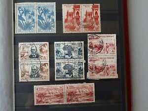 Timbres-Afrique-Occidentale-francaise-1934-1959-YT-n-50-53-57-27