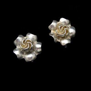 STERLING-Silver-Sweetheart-Rose-Flower-Earrings-Vintage-Nice-Detail
