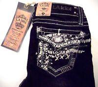 La Idol Jeans Girls Kids Sz 7 Rhinestone Silver Metallic Bootcut