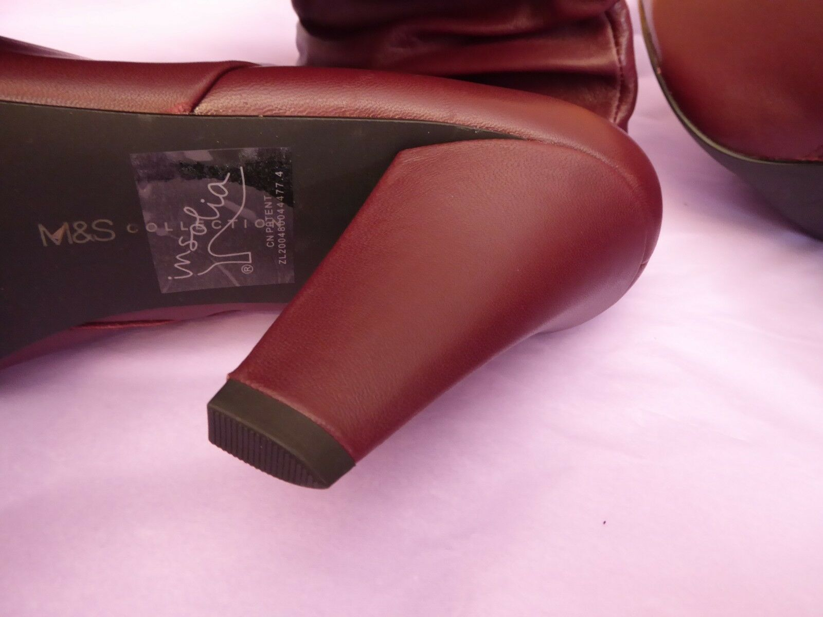 Marks & new Spencer UK8 EU42 US10 new & berry Leder knee length zip ankle Stiefel c465c8