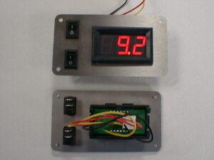 Schalterpanel 2x Ein-Aus Schalter + Voltmeter DC Edelstahlblende matt NEU