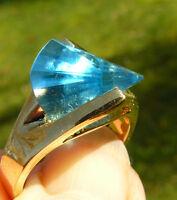 Cz Ring Lazer Cut Ring Aquamarine Color Hge Gold Finish Multi-faceted Stone