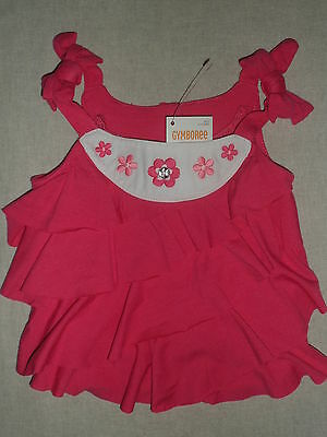 Gymboree FLORAL MERMAID Pink Tiered Swing Gem Button Flower Tank Top Shirt NWT