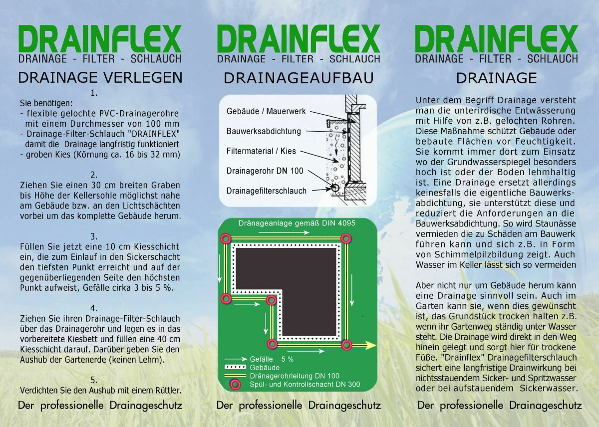 50m F50 Drainagefilterschlauch Drainagefilterschlauch Drainagefilterschlauch Drainagevlies für Drainagerohr DN50 0e1162