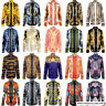 Mens Luxury Hipster Casual 3D Baroque Floral Print Long Sleeve Dress Shirts Tops