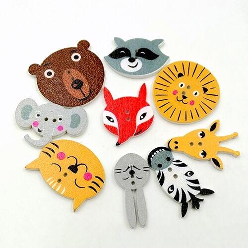 CG_ HD_ ALS_ 50Pcs Mixed Animal Scrapbooking Decor Sewing 2 Holes Wooden Buttons