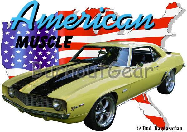 1969 Gelb Chevy Camaro Z28 b Custom Hot Rod USA T-Shirt 69 Muscle Car Tees