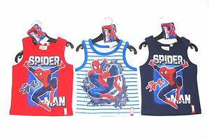 BOYS-SPIDERMAN-T-SHIRT-SLEEVELESS-VEST-TOP-RED-WHITE-NAVY-AGE-2-3-4-5-6-7-8