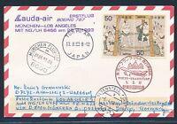 66102) LH / LAUDA FF München - Los Angeles 28.3.93, Karte ab Japan + ANA FF