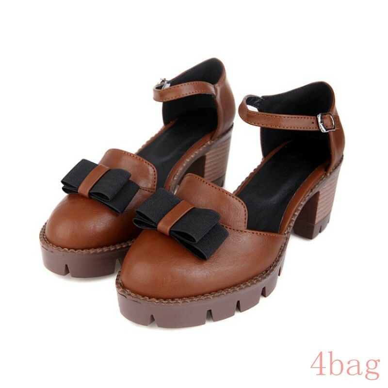 Mary Jane Femme Bow Plateforme Talon Cubain Cheville Sangle Sweet Girls Party Chaussures SZ