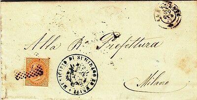 176-lombardia, Sumirago, Numerale A Punti+ Doppio Cerchio Per Milano, 1877