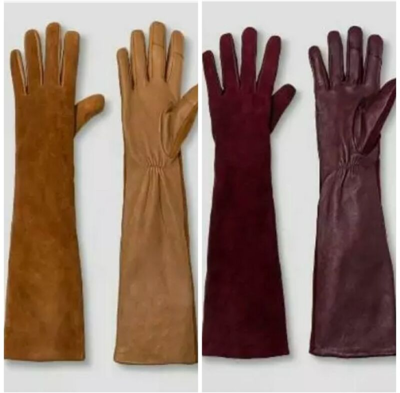 Fashion Style A New Day Women's Mixed Long Leather Tech Touch Gloves Tan Camel Burgundy Discounts Price