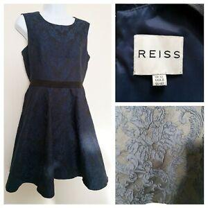 Reiss-Bleu-Marine-Robe-Taille-12-dos-nu-Beau-Brocade-like-material