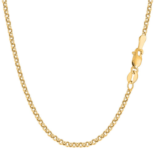 14K Yellow Gold Round Rolo Link Chain Width 2.3mm