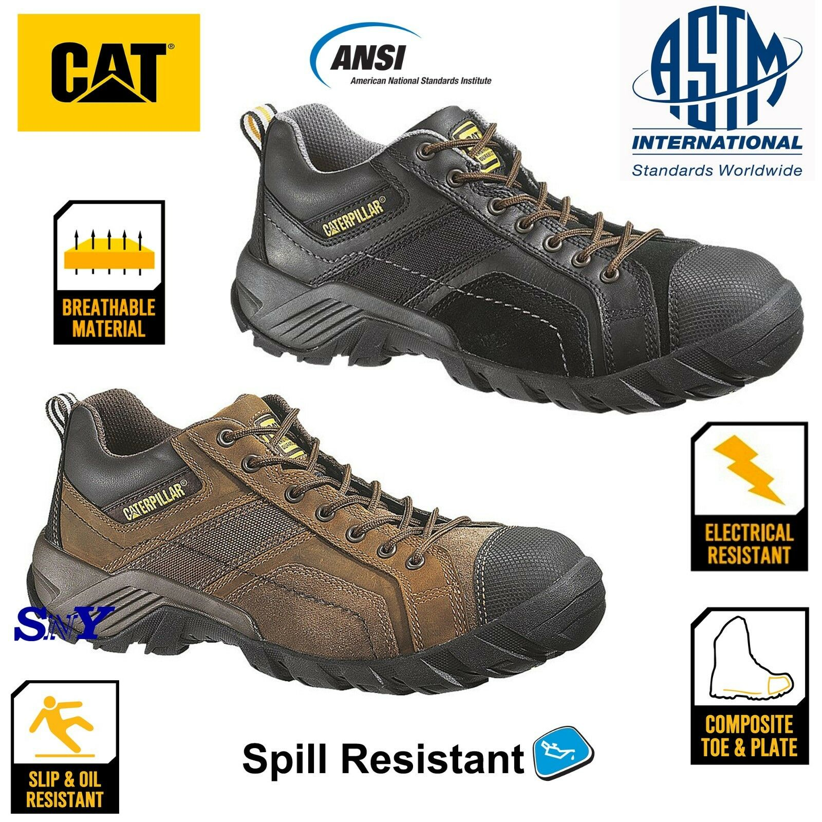CAT Composite Toe Safety Work Oxford Stiefel Leather Slip Resistant ASTM EH