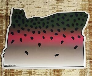 OREGON Stickers Decals Rainbow Brown Brook Steelhead fly fishing Chinook XBM5Wt86-07134752-869154535