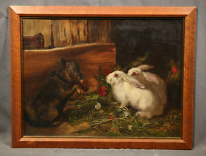 Details about 19th Century Animal Antique Genre Painting With Rabits Bunny  and Dog