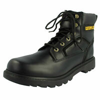 Mens Caterpillar Stickshift Black Leather Lace Up Boots