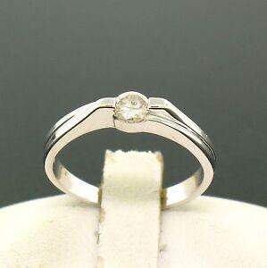 18k-Blanc-Solide-Or-0-22ct-Diamant-Brillant-Rond-Solitaire-Bande-Promesse-Bague