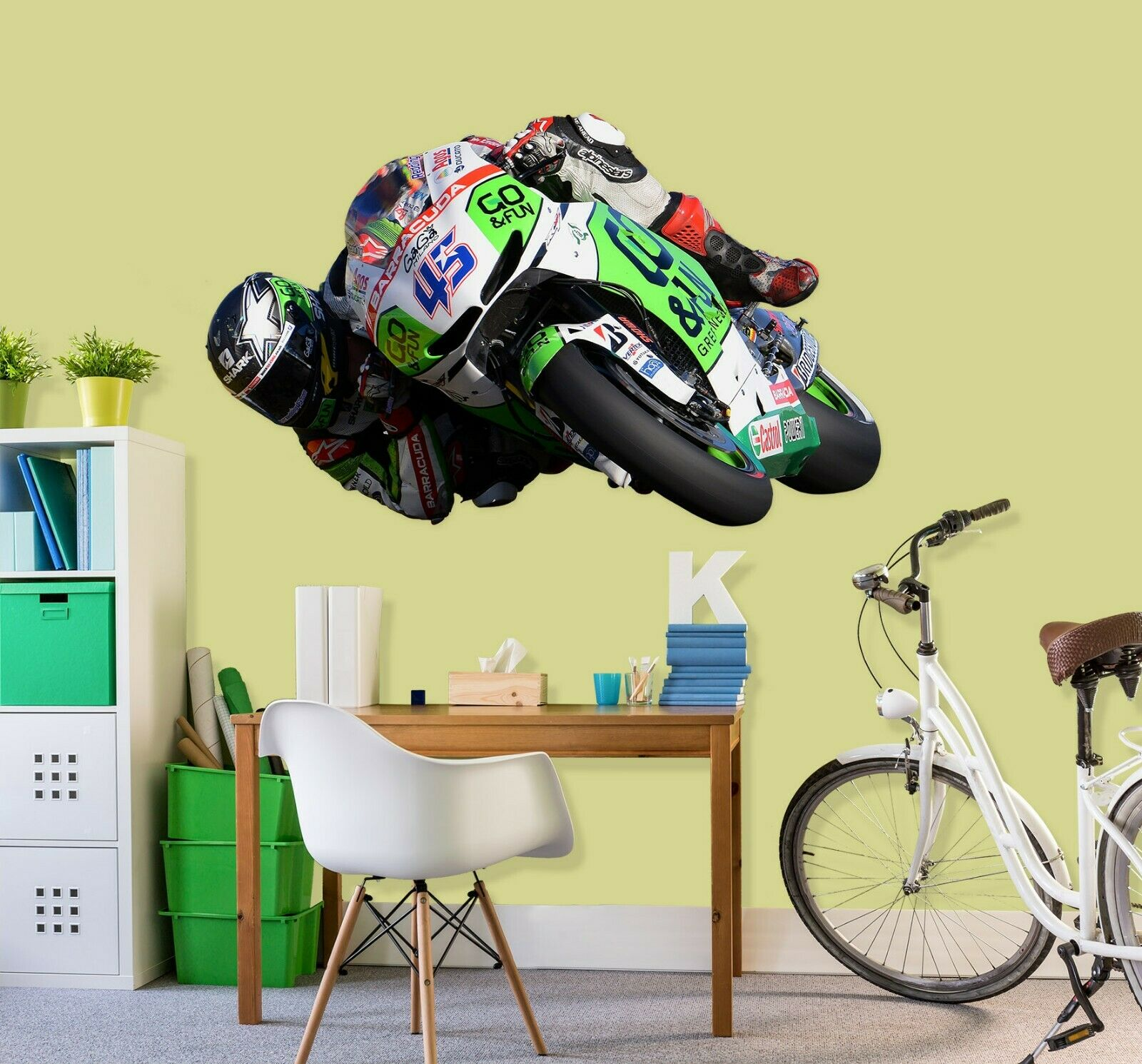3D Motorcycle Racing T123 Car Wallpaper Mural Poster Transport Wall Stickers Su