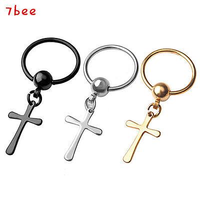 Stainless Steel Cross Ear/nose/Lip/Nipple/Tragus CBR Cpative Hoop Body Jewelry