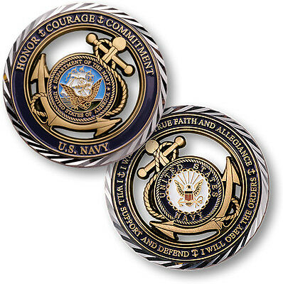 US Navy Core Values Challenge Coin Active Duty Veteran Fouled Anchor Seal Ship