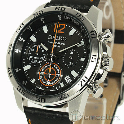 SEIKO MENS CHRONO BLACK FACE SEIKO LEATHER/CARBON EFFECT STRAP SSB135P1 SSB135