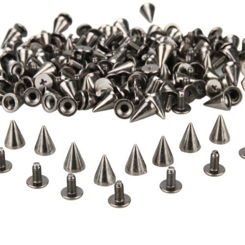 1000 x Trendy 10mm Black-Silver Spots Cone Screw Metal Studs Rivet Bullet Spikes