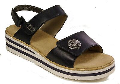 RIEKER Schuhe Plateau Sandalen Sandaletten blau weiß Klettverschluss NEU | eBay