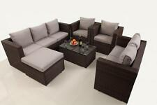 Rattan Wicker Garden Furniture Conservatory Sofa Set 8 Seat 1 Table Brown A2