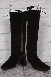 Lær Støvler Heel Suede High Vinter 39 Zip Uk 6 Knee Brown Block Topshop Riding Ugp1w
