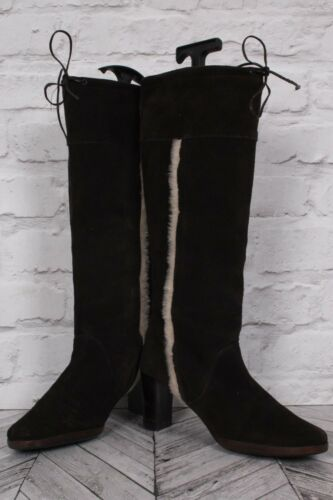 Vinter Heel Brown Topshop Lær Block Riding Suede High Uk 39 Støvler 6 Knee Zip YqqpH4z