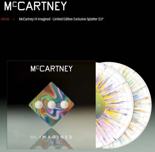 McCartney III Imagined Limited Edition Exclusive Splatter 2LP pre order