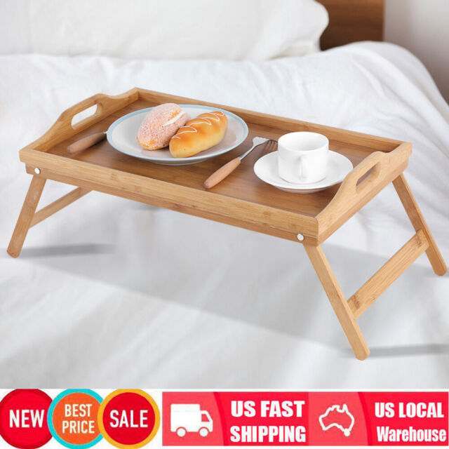 New Bamboo Wooden Breakfast Dinner Serving Tray With Folding Legs Lap In Bed